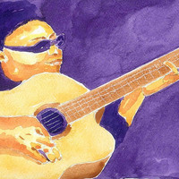 Original Watercolor Painting Jazz Guitar Player 8x10