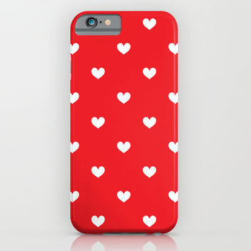 Red & White Hearts Pattern iPhone & iPod Case by CreativeAngel | Society6
