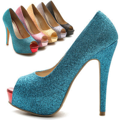 NEW Womens Pumps Stiletto Open Toe High Heels Platforms Glitter Multi Colored