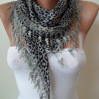 Grey - Leopard Print  Scarf with Trim Edge