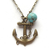 Antiqued Brass Anchor Green Turquoise Necklace