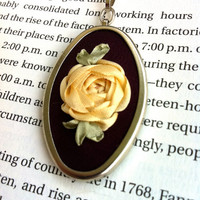 Purple and Cream Rose Pendant - Silk Ribbon Embroidery by BeanTown Embroidery