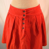 Zara Red Pleated Corduroy Mini Skirt sz u.s. 8 Trf collection