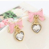 Cute Bow Tie Heart Earrings  | LilyFair Jewelry