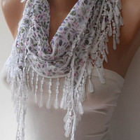 White and Flowered Scarf with White Trim Edge - Summer Collection