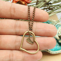 Vintage double heart necklace- True love heart necklace