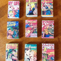 SALE- TAKE 15% OFF Pulp Romance Comic, Covered Matchboxes, Set of 9