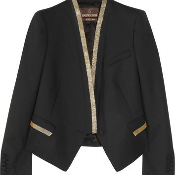 Roberto Cavalli | Beaded stretch wool-twill blazer | NET-A-PORTER.COM