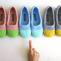 Crochet Slippers For Women In Mint .. on Luulla