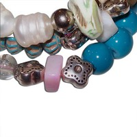 Pink, Teal, Clear, Silver and Wood Triple Beaded Bracelet