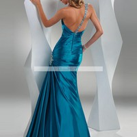 Trumpet / Mermaid One Shoulder Sleeveless Floor-length Elastic Woven Satin Bridesmaid / Evening Dresses / Prom Dresses@bdress11 - Prom Dresses - Event Dresses - Special Occasion Dresses  - DressWill Wedding dresses on sale