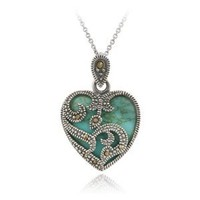 Sterling Silver Marcasite &amp; Turquoise Heart Pendant
