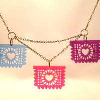 Papel Picado Necklace- Multi-Color Acrylic