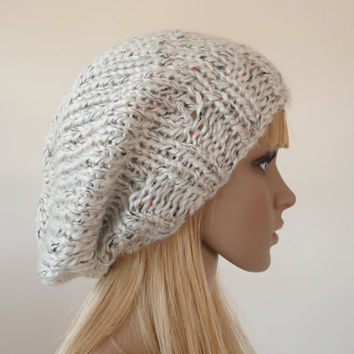 Knitting Patterns For Slouchy Beanie Hats : Slouch beanie - Hand knit hat in white and multi colored ...