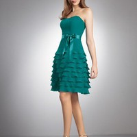 Buy Short Strapless Chiffon Dress Multi-flounced Skirt Separate Sain Sash Bridesmaid Dress Graduation Dresses YSP264 , from  for $92.79 only in Maxnina.com.