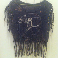 Splattered and Fringed Vintage Graphic T