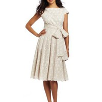 Jones New York Women`s Eyelet Bateau Wrap Waist Dress