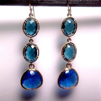 Shades Of Blue Glass Earrings With 14k Gold Filled Earwires