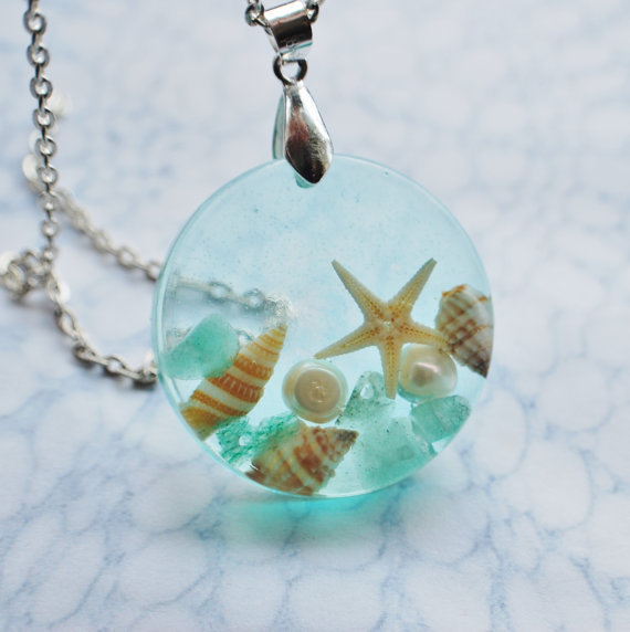 The Mermaid's Necklace 10 Nautical Jewelry Resin Starfish Tiny Seashells Pearl Aqua Specimen Necklace Fairy Tale Fantasy Unique Handmade