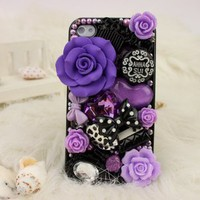Luxury Best Unique 3D ANNASUI Rose Sharp Bling Rhinestone Diamond Hard Back Phone Case Cover iPhone 4 4S