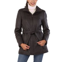BGSD Women`s Belted New Zealand Lambskin Leather A-Line Coat in Black or Brown - Misses & Petite