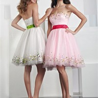 Mini short strapless sweetheart sash white/pink Prom Dresses 2012 PDM201