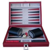 Brandon 9&amp;quot; Vinyl Backgammon in Black and Red