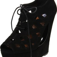 Steve Madden Women`s Daade Wedge Pump,Black Suede,7.5 M US