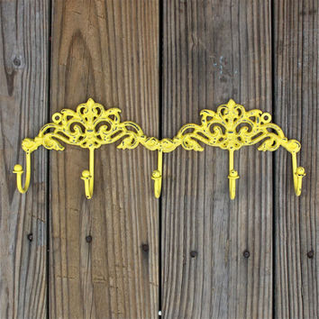 Yellow Wall Hook/ Jewelry Rack / Key Holder/ Bath Towels Laundry /Mud Room Accessory/ Organizer/ Bathroom/ Bedroom/ Living Room/ Cast Iron