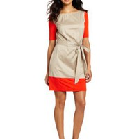 Kenneth Cole Women`s Petite Colorblocked Mixed Media Boat Neck Dress