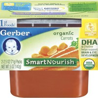 Gerber 1st Foods Organic Carrots, 2-Count, 2.5-Ounce Tubs (Pack of 8)