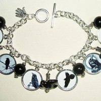CROW Raven BLACK BIRD Charm Bracele.. on Luulla