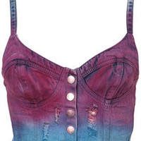 MOTO Blue Dip Dye Denim Bralet - Bralets &amp; Bandeaus - Jersey Tops  - Apparel