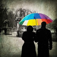 art prints - rainbow umbrella - winter photos - paris romantic - Original Signed Numbered Fine Art Photography Print 6x6 (15x15cm)