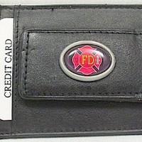 Firefighter Leather Credit Card Holder with ID Window Money Clip