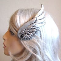 Silver wing hair clip LEFT SIDE - valkyrie, mercury, steampunk, cosplay