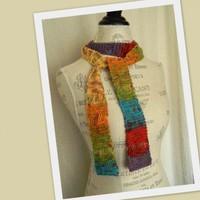 Fiber Art Knit Scarf #001 Gems Vibrant Colors Handmade