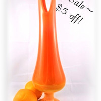 Vase Retro Vintage Stretch Glass in Luscious Orange -SALE 5 Dollars OFF-
