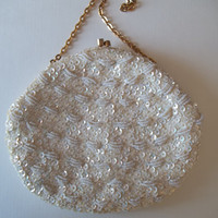 White Beaded and Sequined Evening Bag, Gold Chain, Snap Closure