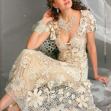 Wedding/coctail Knitting CROCHET PATTERNS Book Irish lace dress collar  top skirt cardigan Fashion Magazine 555