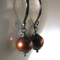 Chocolate Pearl Earrings, Brown, Natural Freshwater, Antiqued Sterling Silver, Handmade, Rustic Fashion, Casual - Derby