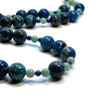 Long Blue Aqua Terra Jasper Necklace with Amazonite and Lapis Lazuli
