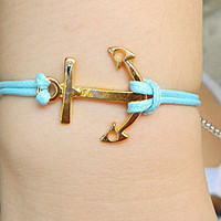 11 color Jewelry  Bangle bracelet  minimalist bracelet Gold Anchor bracelet  Men or Women  Soft Leather Bracelet