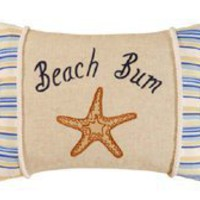 "12"" x 16"" Beach Bum Pillow, Taupe Shells"