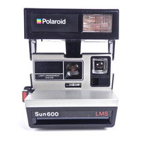 Vintage Polaroid Camera - Black &amp; Silver Polaroid Sun 600 LMS / Bright Lights