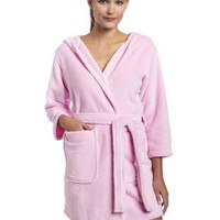 Intimo Women`s Plush Fleece Hooded Robe