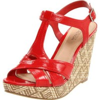 Kenneth Cole REACTION Women`s Live A Little T-Strap Wedge,Red Patent,7.5 M US