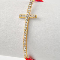 Rhinestone Cross with Adjustable Red woven band