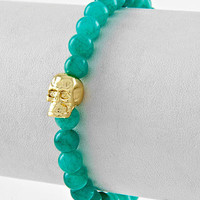 Blue Zircon stone beaded skull bracelet Turquoise