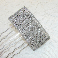 Rhinestone Hair Comb Vintage Wedding Bridal Formal Pageant 1920's Art Deco Bracelet Recycled